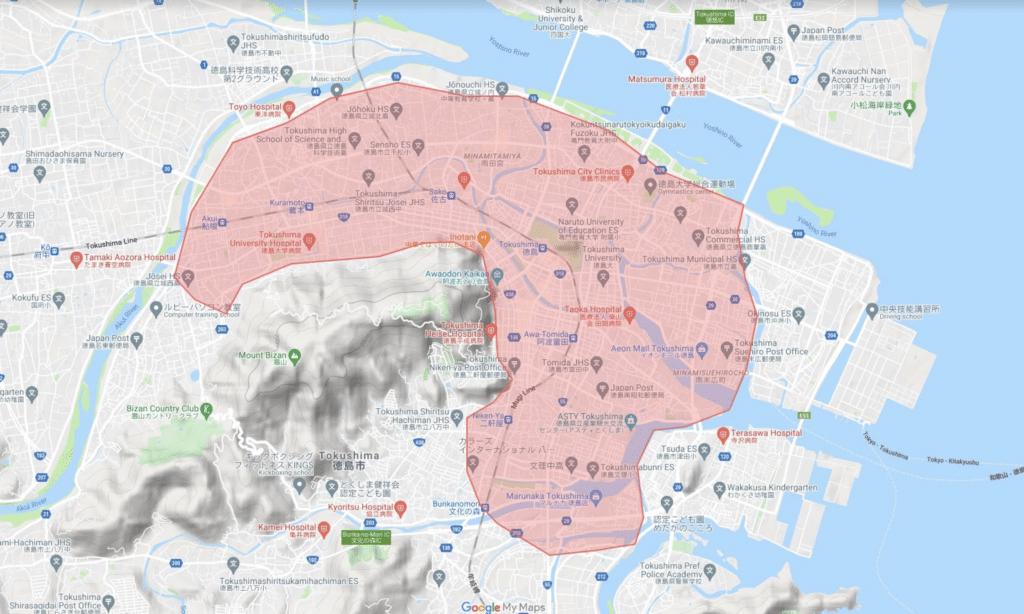 徳島市で利用できるUber Eats(ウーバーイーツ )のエリア・範囲