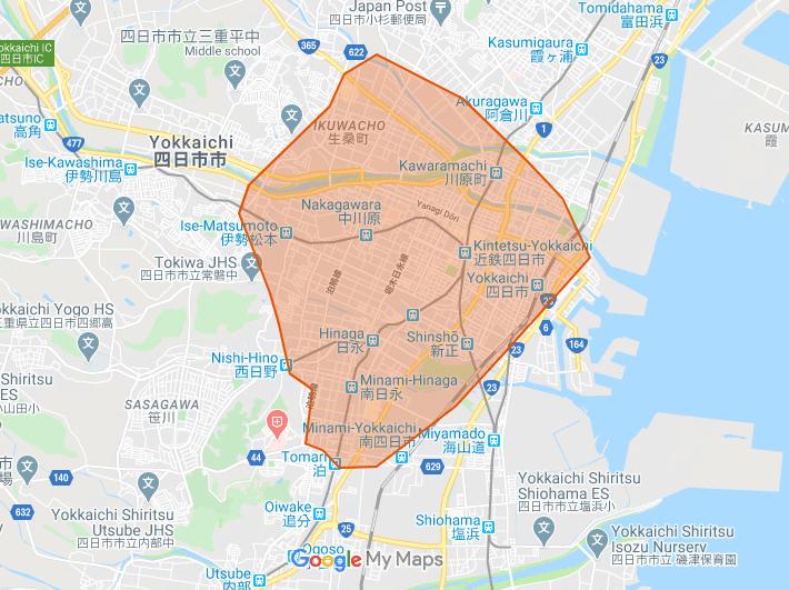 三重県四日市市でUber Eats(ウーバーイーツ )が利用できるエリア・範囲