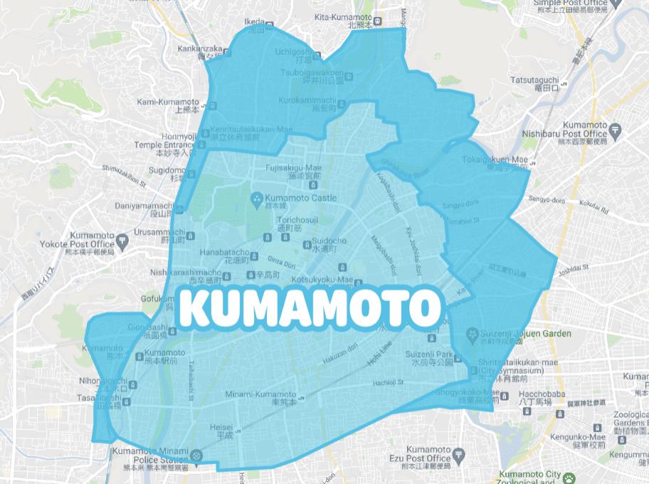 熊本でWolt(ウォルト)が利用できるエリア・範囲