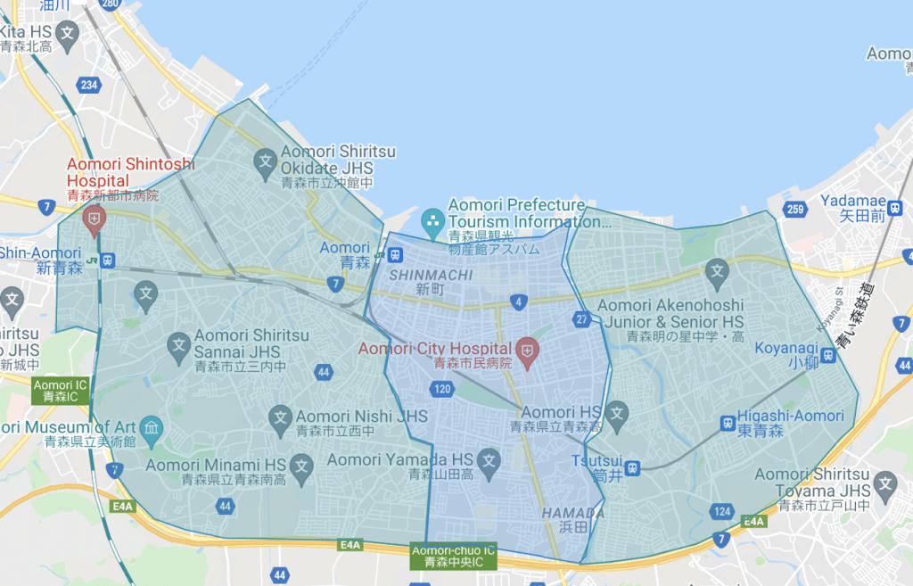 青森市でWolt(ウォルト)が利用できるエリア・範囲