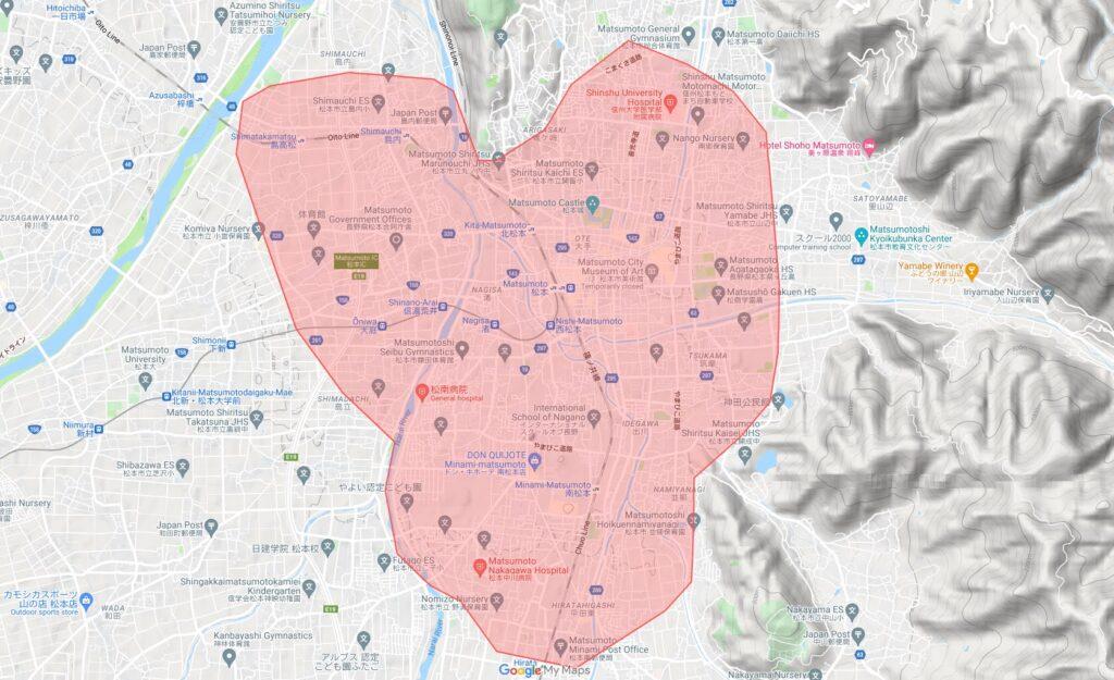 松本市でUber Eats(ウーバーイーツ )が利用できるエリア・範囲